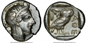 ATTICA. Athens. Ca. 440-404 BC. AR tetradrachm (25mm, 17.17 gm, 4h). NGC Choice XF 5/5 - 5/5. Mid-mass coinage issue. Head of Athena right, wearing cr...