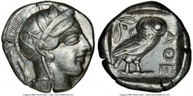 ATTICA. Athens. Ca. 440-404 BC. AR tetradrachm (25mm, 17.14 gm, 10h). NGC Choice XF 5/5 - 4/5. Mid-mass coinage issue. Head of Athena right, wearing c...