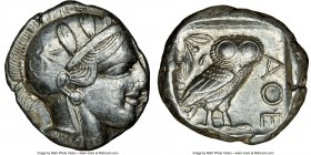 ATTICA. Athens. Ca. 440-404 BC. AR tetradrachm (25mm, 17.17 gm, 10h). NGC Choice XF 4/5 - 4/5. Mid-mass coinage issue. Head of Athena right, wearing c...