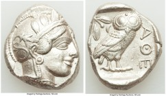 ATTICA. Athens. Ca. 440-404 BC. AR tetradrachm (26mm, 17.20 gm, 12h). Choice XF. Mid-mass coinage issue. Head of Athena right, wearing crested Attic h...