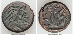CIMMERIAN BOSPORUS. Panticapaeum. 4th century BC. AE (20mm, 7.65 gm, 11h). Choice VF. Bearded head of Pan right / Π-Α-Ν, forepart of griffin left, stu...