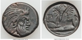 CIMMERIAN BOSPORUS. Panticapaeum. 4th century BC. AE (21mm, 7.70 gm, 11h). Choice VF. Bearded head of Pan right / Π-Α-Ν, forepart of griffin left, stu...