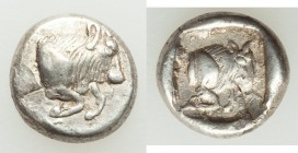 CARIA. Uncertain mint. Ca. 450-400 BC. AR diobol (12mm, 2.39 gm, 2h). Choice XF. Milesian standard. Forepart of bull right / Head of bull right; withi...