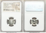 CARIAN ISLANDS. Rhodes. Ca. 305-275 BC. AR didrachm (20mm, 1h). NGC Choice VF. Facing head of Helios, slightly right / POΔION, rose with bud right; st...
