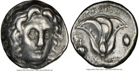 CARIAN ISLANDS. Rhodes. Ca. 305-275 BC. AR didrachm (19mm, 1h). NGC VF. Head of Helios facing, turned slightly right, hair parted in center and swept ...