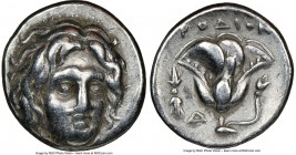 CARIAN ISLANDS. Rhodes. Ca. 305-275 BC. AR didrachm (19mm, 11h). VF. Head of Helios facing, turned slightly right, hair parted in center and swept to ...