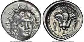 CARIAN ISLANDS. Rhodes. Ca. 250-200 BC. AR didrachm (21mm, 6.73 gm, 12h). NGC Choice VF. Timotheus, magistrate. Radiate head of Helios facing, turned ...