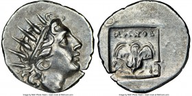 CARIAN ISLANDS. Rhodes. Ca. 88-84 BC. AR drachm (16mm, 11h). NGC AU. Plinthophoric standard, Menod(orus), magistrate. Radiate head of Helios right / M...