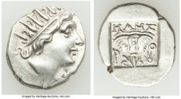 CARIAN ISLANDS. Rhodes. Ca. 88-84 BC. AR drachm (16mm, 2.90 gm, 12h). XF. Plinthophoric standard, Maes, magistrate. Radiate head of Helios right / MAH...