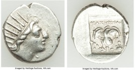 CARIAN ISLANDS. Rhodes. Ca. 88-84 BC. AR drachm (15mm, 2.65 gm, 11h). VF. Plinthophoric standard, Thrasymede(s), magistrate. Radiate head of Helios ri...