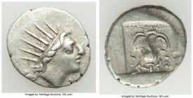 CARIAN ISLANDS. Rhodes. Ca. 88-84 BC. AR drachm (16mm, 2.60 gm, 2h). VF. Plinthophoric standard, Thrasymede(s), magistrate. Radiate head of Helios rig...