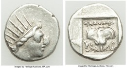 CARIAN ISLANDS. Rhodes. Ca. 88-84 BC. AR drachm (15mm, 2.46 gm, 12h). VF. Plinthophoric standard, Thrasymede(s), magistrate. Radiate head of Helios ri...