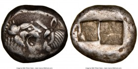 LYDIAN KINGDOM. Croesus or later (ca. after 561 BC). AR half-stater or siglos (15mm, 5.35 gm). NGC VF 4/5 - 3/5. Sardes. Confronted foreparts of lion ...