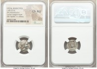 LYCIAN LEAGUE. Masicytes. Ca. 48-20 BC. AR hemidrachm (16mm, 11h). NGC Choice AU. Series 5. Laureate head of Apollo right; Λ-Y below / M-A, cithara (l...