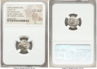 LYCIAN LEAGUE. Masicytes. Ca. 48-20 BC. AR hemidrachm (15mm, 7h). NGC Choice AU. Series 1. Laureate head of Apollo right; Λ-Y below / M-A, cithara (ly...