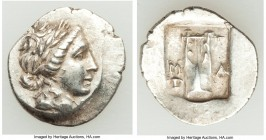LYCIAN LEAGUE. Masicytes. Ca. 48-20 BC. AR hemidrachm (21mm, 1.94 gm, 12h). AU. Series 1. Laureate head of Apollo right; Λ-Y below / M-A, cithara (lyr...