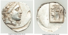 LYCIAN LEAGUE. Masicytes. Ca. 48-20 BC. AR hemidrachm (16mm, 1.79 gm, 12h). AU. Series 3. Laureate head of Apollo right; Λ-Y below / M-A, cithara (lyr...