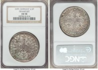 Frankfurt. Free City 2/3 Taler 1695 AU58 NGC, KM150. With faint adjustment marks and ethereal patina that covers both sides in pastel hues.  HID098012...