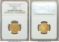 Frankfurt. Free City gold Ducat 1658 MS62 NGC, KM104.2, Fr-976. Ducat issue with strong raised elements and bright golden color.  HID09801242017