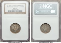 Frankfurt. Free City silver Heller 1774-PCB MS63 NGC, KM247A. Attractively toned with teal and russet color throughout the fields.  HID09801242017