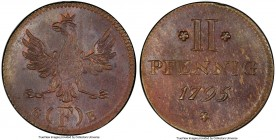 Frankfurt. Free City 2 Pfennig 1795-GFB MS64 Brown PCGS, KM287. Highly detailed designs sit atop a red-brown infused planchet.  HID09801242017