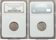 Frankfurt. Free City silver Pattern 3/4 Ducat 1745 MS63 NGC, KM-Pn33. Beautifully designed pattern with interesting color and sharply raised designs. ...