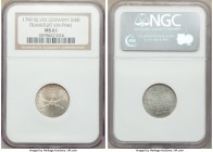 Frankfurt. Free City silver Pattern 3/4 Ducat 1790 MS61 NGC, KM-Pn41. Bright, with copper tones at the legends and noticeable luster within the open e...