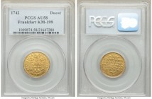Frankfurt. Free City gold Ducat 1742 AU58 PCGS, KM199. Golden yellow luster with only touches of wear on the high points. The detail in the devices ar...