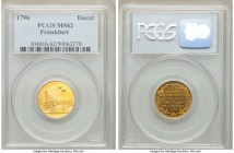 Frankfurt. Free City gold Ducat 1796 MS62 PCGS, KM289. A formidable amount of detail and eye appeal that substantially stands above the rest of this t...