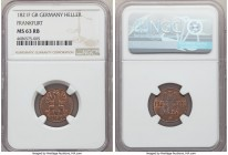 Frankfurt. Free City Heller 1821 F-GB MS63 Red and Brown NGC, KM301. More red than brown, with mild softness at the centers and sharp dentillation tha...