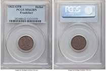 Frankfurt. Free City Heller 1822 F-GB MS62 Brown PCGS, KM301. Evenly toned to a mahogany brown and with well-detailed central images.  HID09801242017