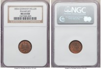 Frankfurt. Free City Heller 1854 MS64 Red and Brown NGC, KM351. Fully bold with a beautiful, coppery-red color across the satin-sheathed planchet.  HI...