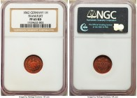 Frankfurt. Free City Proof Heller 1862 PR65 Red NGC, KM356. Bold, bright and fiery-red throughout.  HID09801242017