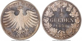 Frankfurt. Free City 1/2 Gulden 1838 MS65 PCGS, KM315. Bold and highly attractive in both eye appeal and technical grade.  HID09801242017