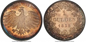 Frankfurt. Free City Gulden 1838 MS65 PCGS, KM316. Superb coloring and fully gem detail throughout even the most intricate designs.  HID09801242017