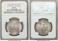 Frankfurt. Free City Taler 1862 MS66 NGC, KM370. Satiny luster and vivid strike make this coin deserving of such a high grade.   HID09801242017