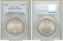 Frankfurt. Free City Taler 1863 MS67 PCGS, KM372, Dav-654. 33mm. Assembly of Princes commemorative. Surprisingly high grade for the type featuring an ...