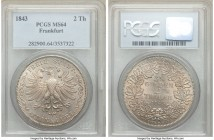 Frankfurt. Free City 2 Taler 1843 MS64 PCGS, KM329. Light golden luster adorn the coin while the luster remains full and beaming. Truly a stunning pie...