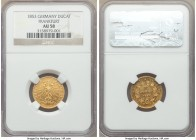 Frankfurt. Free City gold Ducat 1853 AU58 NGC, KM352. With such a low mintage of just 1,121 pieces, to obtain one in any grade is seldom offered.  HID...
