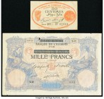 A Pair of Early Notes from Algeria. Very Good. The 1,000 Franc note has a tear.  HID09801242017