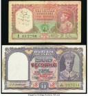 Burma Reserve Bank of India 5; 10 Rupees ND (1938; 1947) Pick 4; 32 Fine; Very Fine. Annotations and stamp present on the 5 rupees.  HID09801242017
