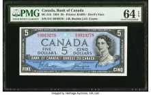 Canada Bank of Canada $5 1954 BC-31b Devil's Face PMG Choice Uncirculated 64 EPQ.   HID09801242017