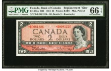 Canada Bank of Canada $2 1954 BC-38bA RB4 Replacement PMG Gem Uncirculated 66 EPQ. Prefix *B/B.  HID09801242017