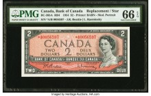 Canada Bank of Canada $2 1954 BC-38bA RB4 Replacement PMG Gem Uncirculated 66 EPQ. Prefix *A/B.  HID09801242017