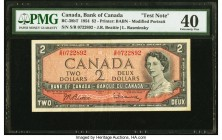 Canada Bank of Canada $2 1954 BC-38bT Test Note PMG Extremely Fine 40. S/R Prefix.  HID09801242017