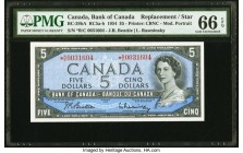 Canada Bank of Canada $5 1954 BC-39bA RC5 Replacement PMG Gem Uncirculated 66 EPQ. Prefix *R/C.  HID09801242017