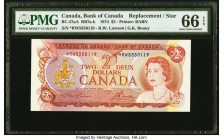 Canada Bank of Canada $2 1974 BC-47aA RB7 Replacement PMG Gem Uncirculated 66 EPQ. Prefix *RW.  HID09801242017