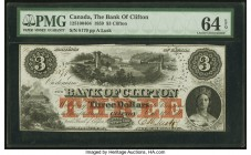 Canada Clifton, PC- Bank of Clifton $3 1.10.1859 Ch.#125-10-04-04 PMG Choice Uncirculated 64 EPQ. Star hole cancel.  HID09801242017