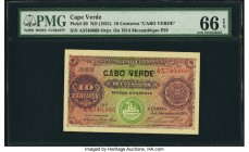 Cape Verde Banco Nacional Ultramarino 10 Centavos 5.11.1914 (ND 1921) Pick 20 PMG Gem Uncirculated 66 EPQ. Cabo Verde overprint.  HID09801242017