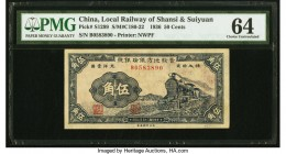 China Bank of Local Railway of Shansi & Suiyuan 50 Cents 1936 Pick S1299 S/M#C180-22 PMG Choice Uncirculated 64.   HID09801242017